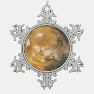 Mars Snowflake Pewter Christmas Ornament
