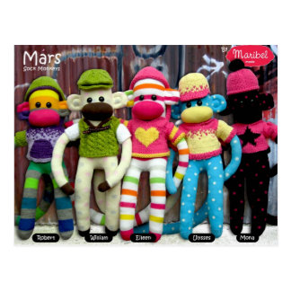 Mars Sock Monkey Post Card - Graffiti
