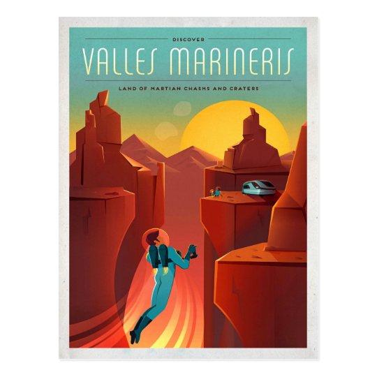 Mars Valles Marineris Retro Space Tourism Postcard