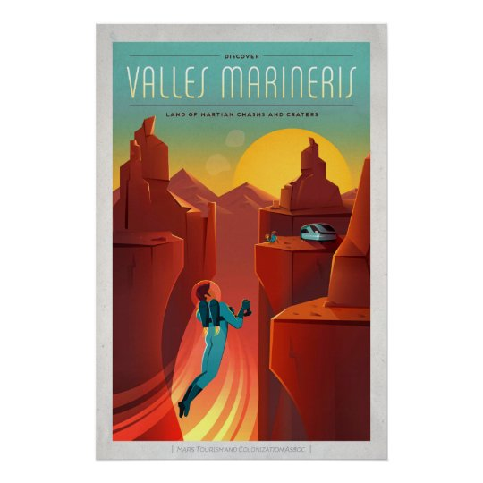 Mars Valles Marineris Space Tourism Illustration Poster
