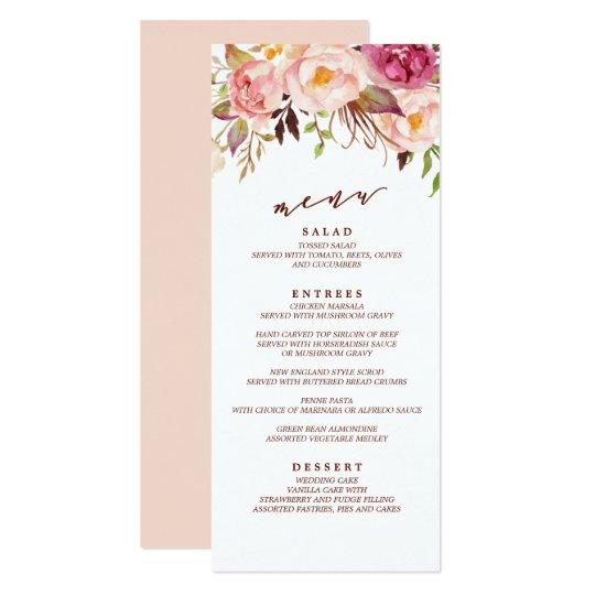 Marsala and Gold Boho Garden Wedding Menu Card