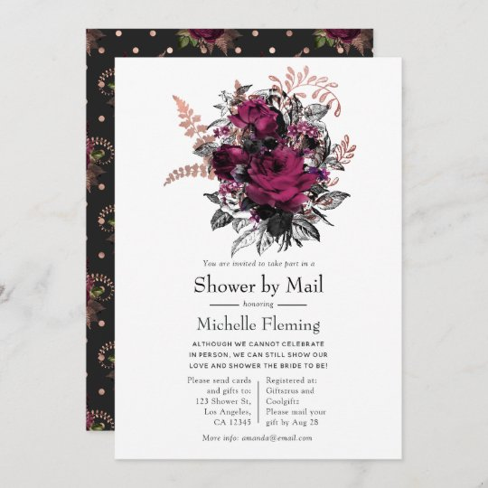 Marsala and Rose Gold Floral Shower by Mail Invitation