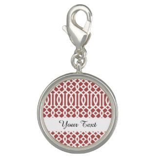 Marsala and White Modern Trellis Pattern Charm