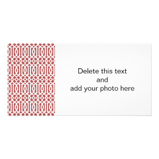 Marsala and White Modern Trellis Pattern Photo Card Template