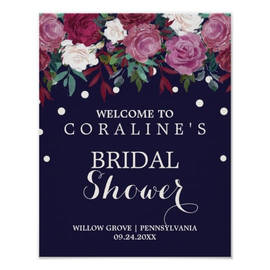 Marsala Burgundy and Navy Bridal Shower Welcome Poster