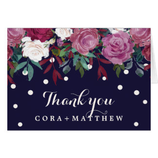 Marsala Burgundy & Blush Floral on Navy Thank You Card