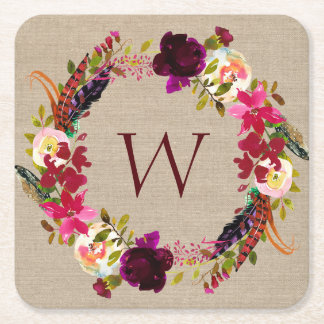 Marsala Burgundy Boho floral wreath monogram Square Paper Coaster