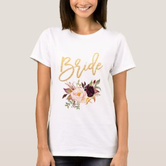 Marsala burgundy Floral bride white T-Shirt