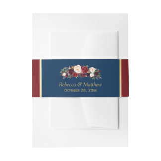Marsala Burgundy Floral Navy Blue Gold Wedding Invitation Belly Band