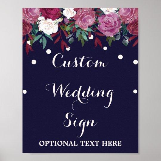 Marsala & Burgundy Floral Navy Custom Wedding Sign