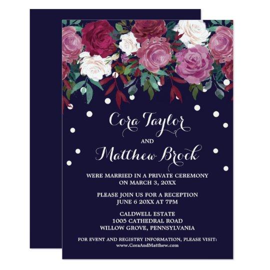 Marsala & Burgundy Floral Navy Elopement Reception Card