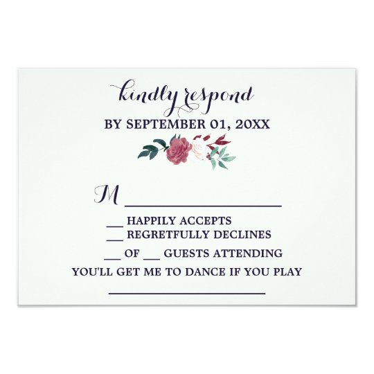 Marsala & Burgundy Floral Navy Song Request RSVP