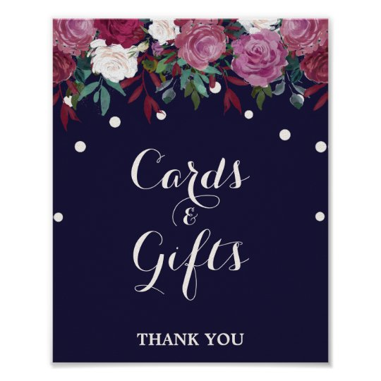 Marsala & Burgundy Floral on Navy Cards &