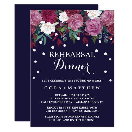 Marsala & Burgundy Floral on Navy Rehearsal Dinner