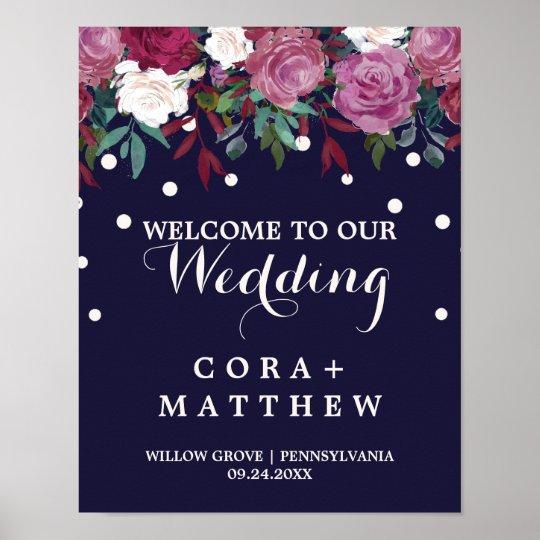 Marsala & Burgundy Floral on Navy Wedding Welcome