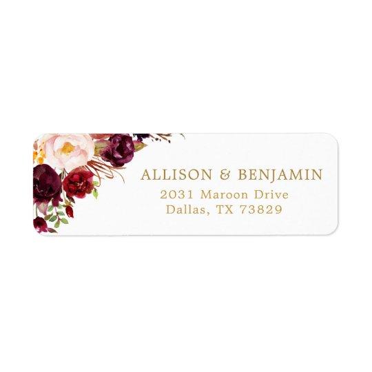 Marsala Burgundy Flowers Return Address Label