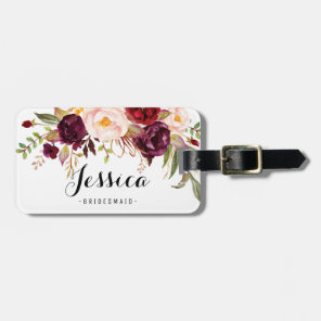 Marsala Burgundy Rustic Floral Bridesmaid Luggage Tag