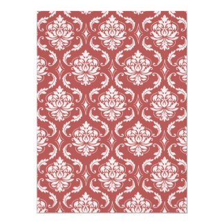 Marsala Classic Damask Pattern Personalized Announcement Card