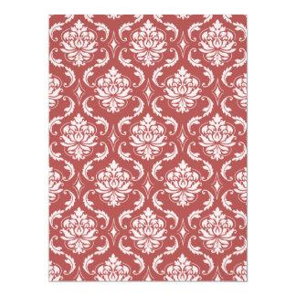 Marsala Classic Damask Pattern 6.5x8.75 Paper Invitation Card