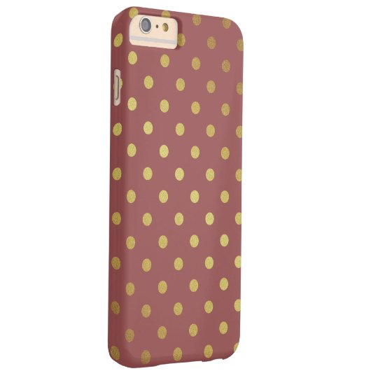 Marsala - Colour of the Year 2015 - Gold Polka Barely There iPhone 6 Plus Case