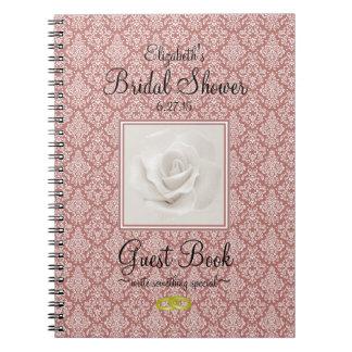 Marsala Damask and Rose Bridal Shower Guest Book - Spiral Notebook