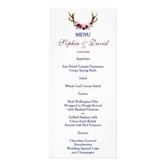Marsala Floral Antlers Navy Blue Fall Menu