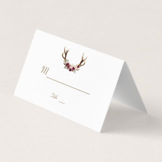 Marsala Floral Antlers Navy Blue Fall Table Number Place Card