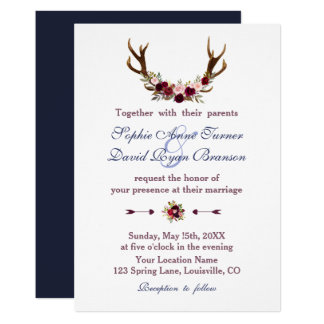 Marsala Floral Antlers Navy Blue Fall Wedding Card