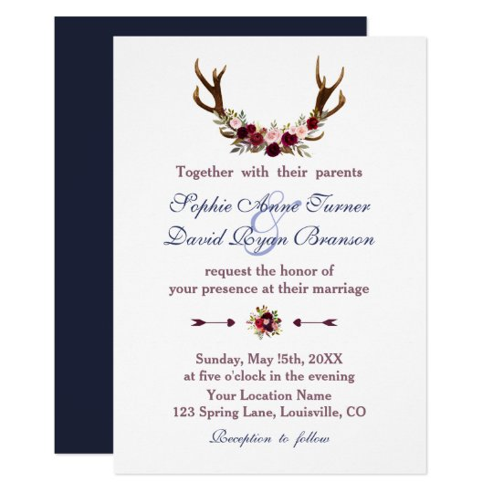 Marsala Floral Antlers Navy Blue Fall Wedding Card
