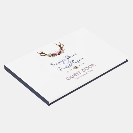 Marsala Floral Antlers Navy Blue Fall Wedding Guest
