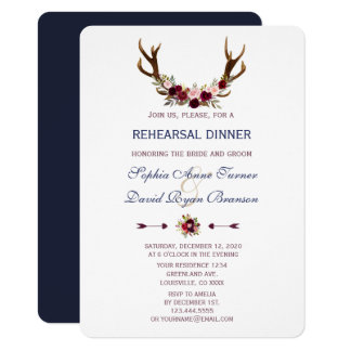 Marsala Floral Antlers Navy Blue Rehearsal Dinner Card