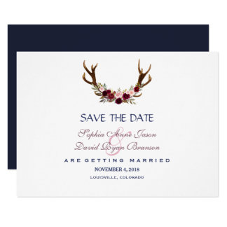 Marsala Floral Antlers Navy Blue Save The Date Card