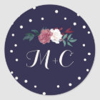 Marsala Floral & Confetti on Navy Envelope Seals