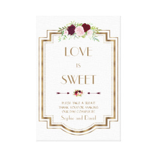 Marsala Floral Gold Fall Love is Sweet Sign