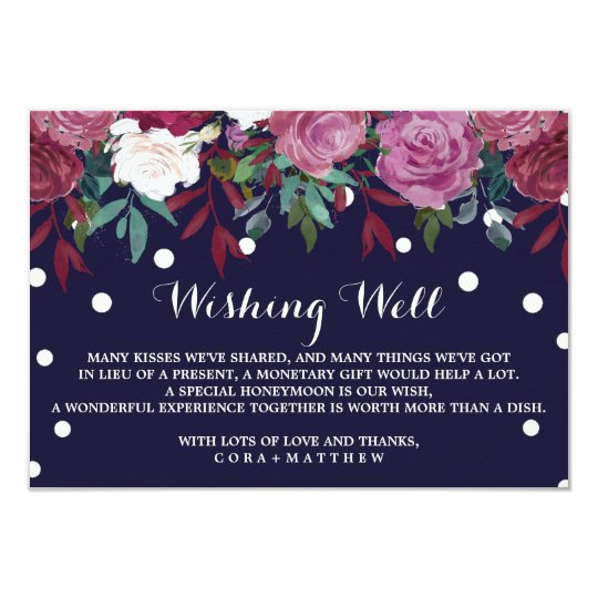 Marsala Floral on Navy Blue Wedding Wishing Well