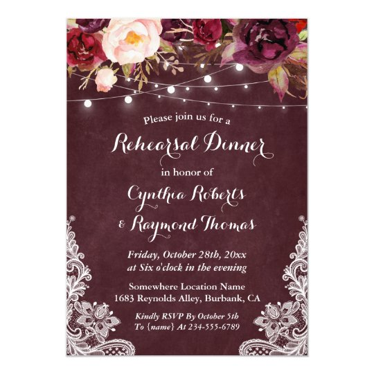 Marsala Floral String Lights Lace Rehearsal Dinner Card