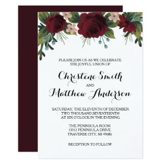 Marsala Floral Winter Wedding Invite