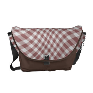Marsala Gingham Check Geometric Pattern Wave Courier Bags