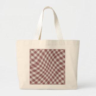 Marsala Gingham Check Geometric Pattern Wave Jumbo Tote Bag