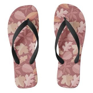 Marsala leaves pattern flip flops