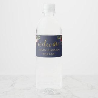 Marsala Navy Wedding Welcome Water Bottle Label