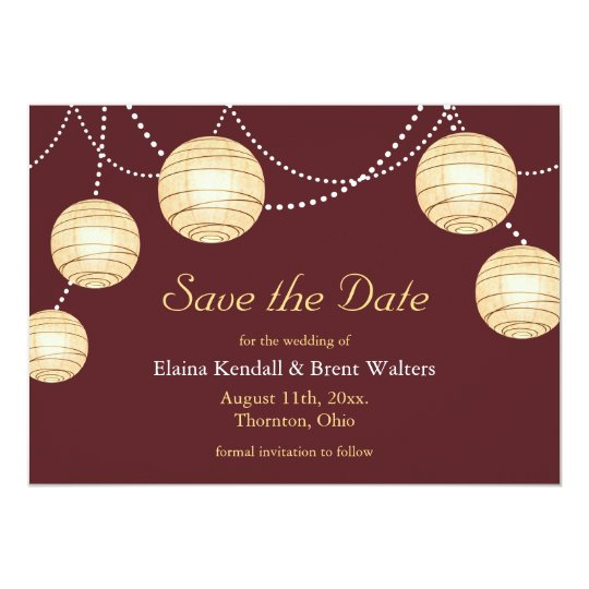 Marsala Party Lanterns Save the Date Invitation