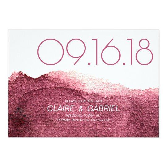 Marsala pink modern simple wedding save the date