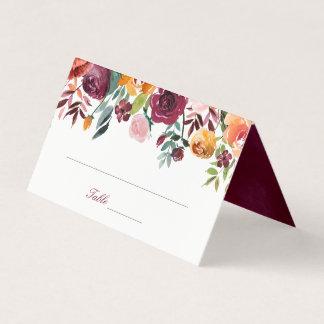 Marsala Pink Orange Flowers Wedding Place Card