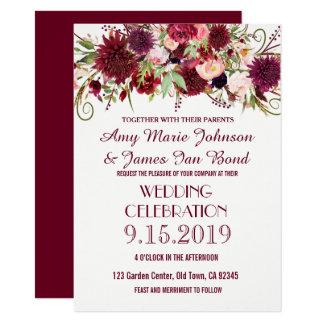 Marsala Red Burgundy Floral Wedding Invitations