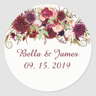 Marsala Red Floral Chic Wedding Stickers