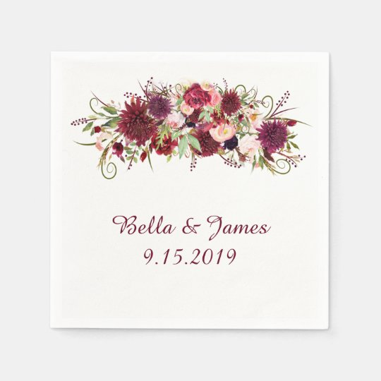 Marsala Red Floral Wedding Collection Napkins Disposable