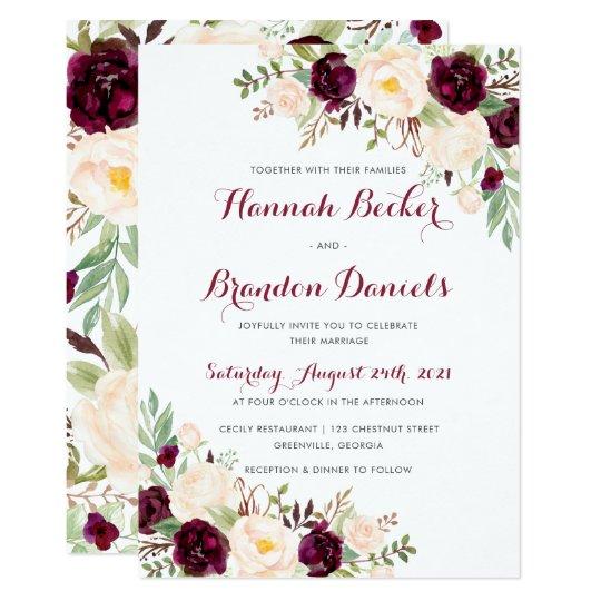 Marsala Sage Blush Burgundy Wedding Invitation