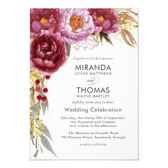 Marsala Splendour Watercolor Floral Wedding Card