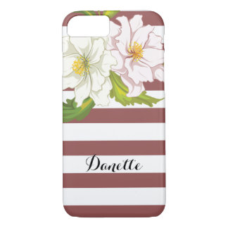 Marsala stripes and pink flowers modern floral iPhone 7 case